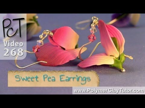 Polymer Clay Sweet Pea Flower Earrings Tutorial a group of videos at this page to see project in its entirety.