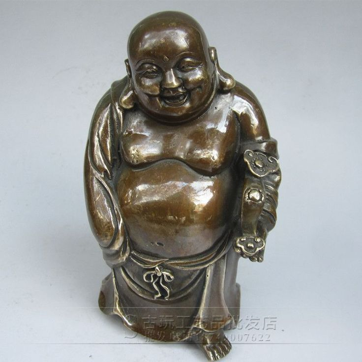 Wholesale antique bronze carved high-grade copper ornaments copper Maitreya Buddha belly laugh Buddha Daming Xuande system