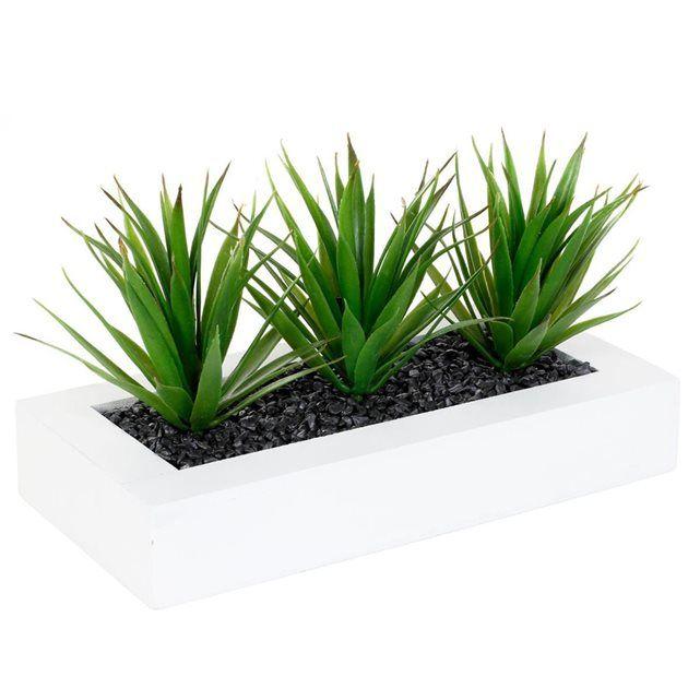 FICHE TECHNIQUE- Plantes en polyester.- Pot en MDF et pierres naturelles.CARACTERISTIQUES TECHNIQUES- Dimensions : L. 30 x l. 15 x H. 17 cm.- Poids : 0,6 kg.