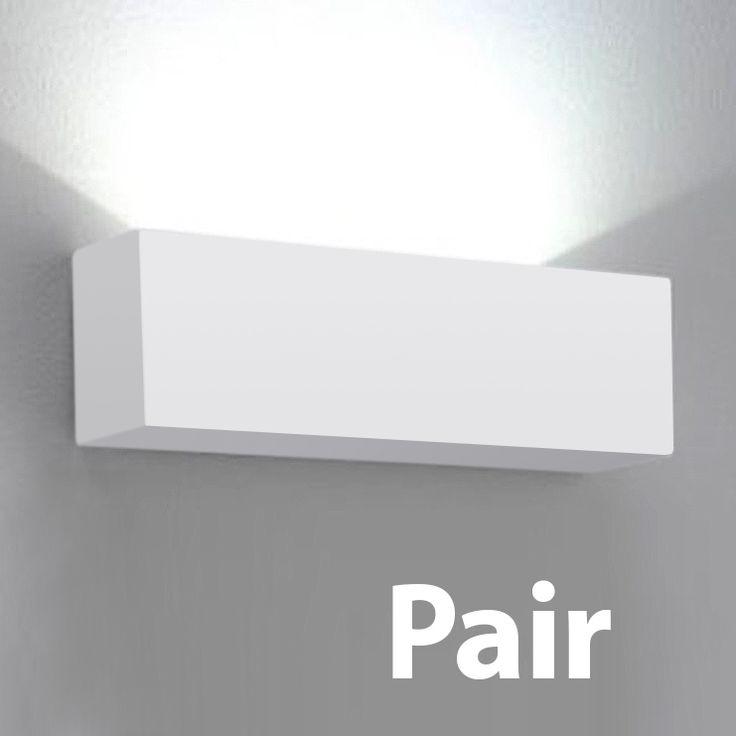 Pair of Square White Ceramic Indoor Flush Uplighter Wall Light Fittings Lights | eBay