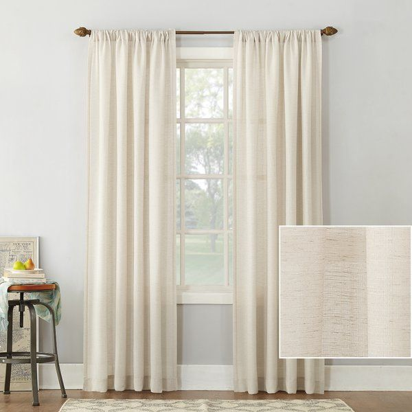 Berwick Linen Blend Solid Semi Sheer Rod Pocket Single Curtain