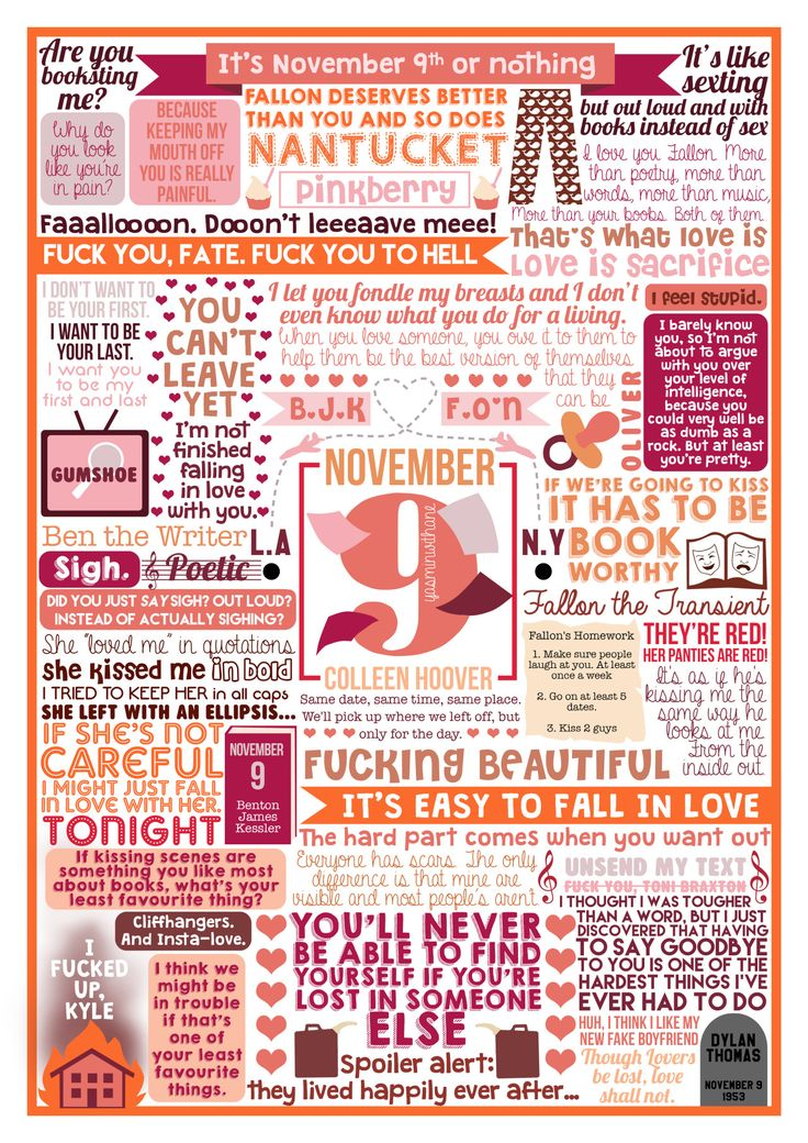 Book collage based on 'November 9′ by Colleen Hoover.Side note: Colleen Hoover is amazing. Go read all her books…now.You can see the rest of my Colleen Hoover collages HEREOr see the whole collection of collages HEREColleen has also been kind enough to allow me to sell these prints on my Society6