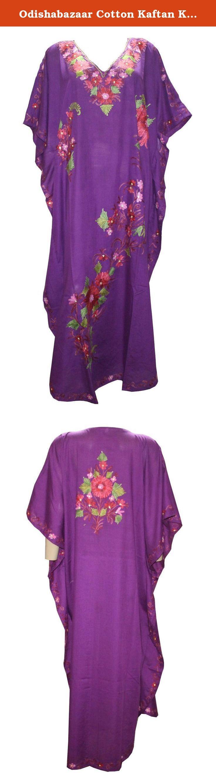 Odishabazaar Cotton Kaftan Kashmiri Embroidered Maxi Long Dress for Women (multi-10). Long length Kashmiri Kaftan/lounge wear/beach wear/ maxi dress with Ari Embroidered Flowers.