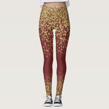 Burgundy & Gold Shiny Leggings - glitter glamour brilliance sparkle design idea diy elegant