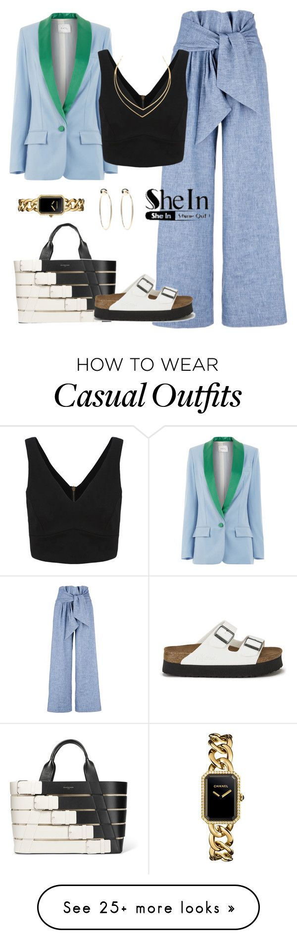 """Casual"" by yinggao on Polyvore featuring Racil, MSGM, Balenciaga, Birkenstock, Bebe, Chanel, Lana, Sheinside, casualoutfit and shein"