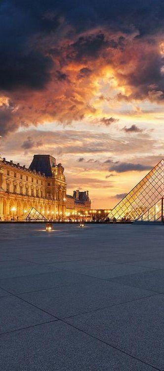 The Louvre at Sunset, Paris ,France
