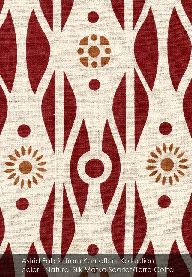 Astrid fabric from Kamofleur Kollection in Natural Silk Matka Scarlet/Terra Cotta