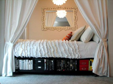 How to make a Captain's BedStorage Spaces, Curtains, Platform Beds, Captain Beds, Small Spaces, Beds Storage, Ikea Hackers, Bedrooms Ideas, Bed Storage