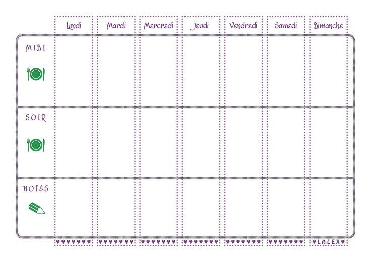 Mod le de menu de la semaine imprimer sous forme de for Couvert de table en anglais