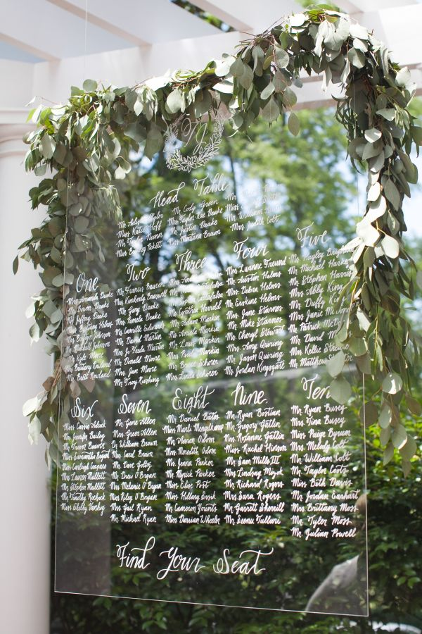 Hand-calligraphed lucite seating chart dripping with eucalyptus: http://www.stylemepretty.com/2016/09/12/taylor-rae-style-souffle-wedding/ Photography: Kristin Byrum - http://kristinbyrum.com/