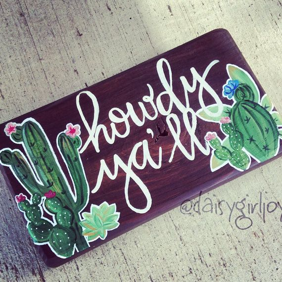 Hand painted Howdy Ya'll cactus succulent yucca by DaisyGirlJoy