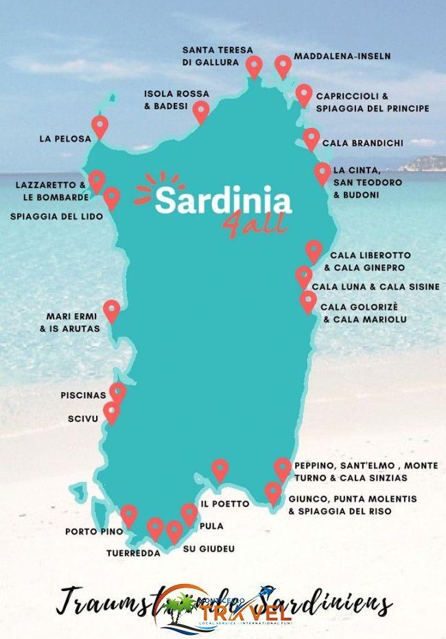 Karte Sardinien Süden.Traumstrände Sardinen Die Schönsten Strände Und Was Sie So