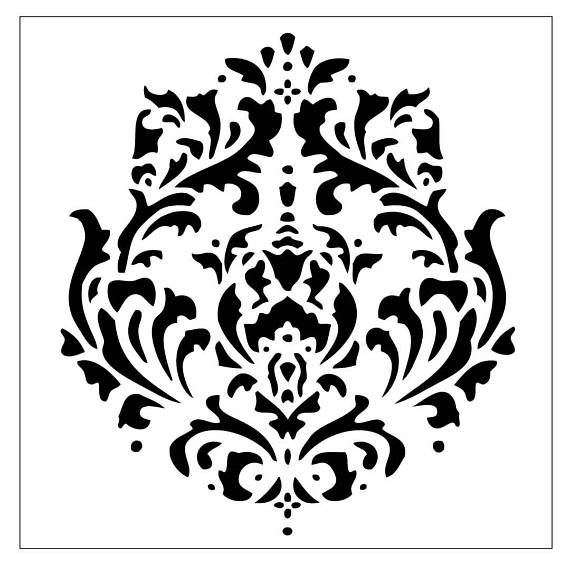 Decorative damask motif to stencil on your walls. First image repeated creates second image. These tested stencil designs are ready for use in a variety of projects and laser-cut for sharpest detail. The see thru plastic material is flexible, durable, and makes it easy to position these delightful accents on furniture, walls, stairs, doors, fabric or paper - almost any flat surface. Stencil ideas: Stencil Wall Décor: Use stencils for personalized wall decoration by simply adding in the…