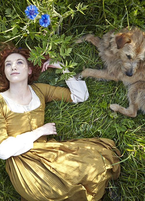 Eleanor Tomlinson as Demelza with her dog Garrick in #Poldark (2015). #WinstonGraham #PoldarkPBS