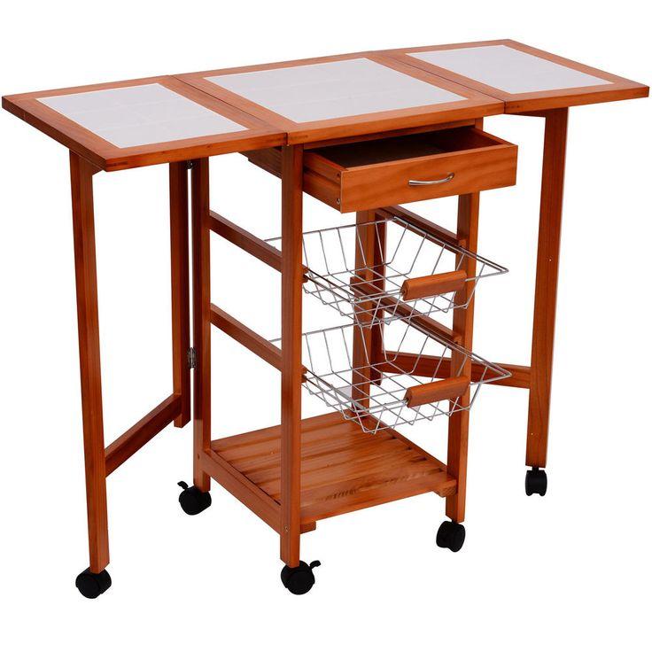 Portable Rolling Drop Leaf Kitchen Storage Tile Top Island Drawers Trolley Cart #HomCom