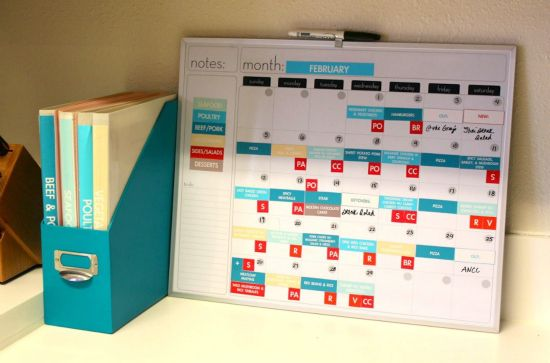 Magnetic meal planning calendar via i heart organizing.  This would take awhile to make, but I'm sure if I did it would save me time in other ways.