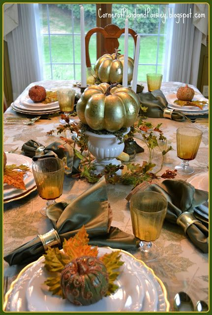 Corner of plaid and paisley white and gold fall for Gorgeous thanksgiving table settings