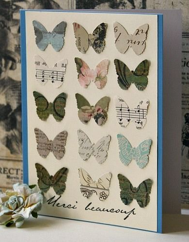 handmade card ... a grid of punched butterflies ... like the various papers used ...