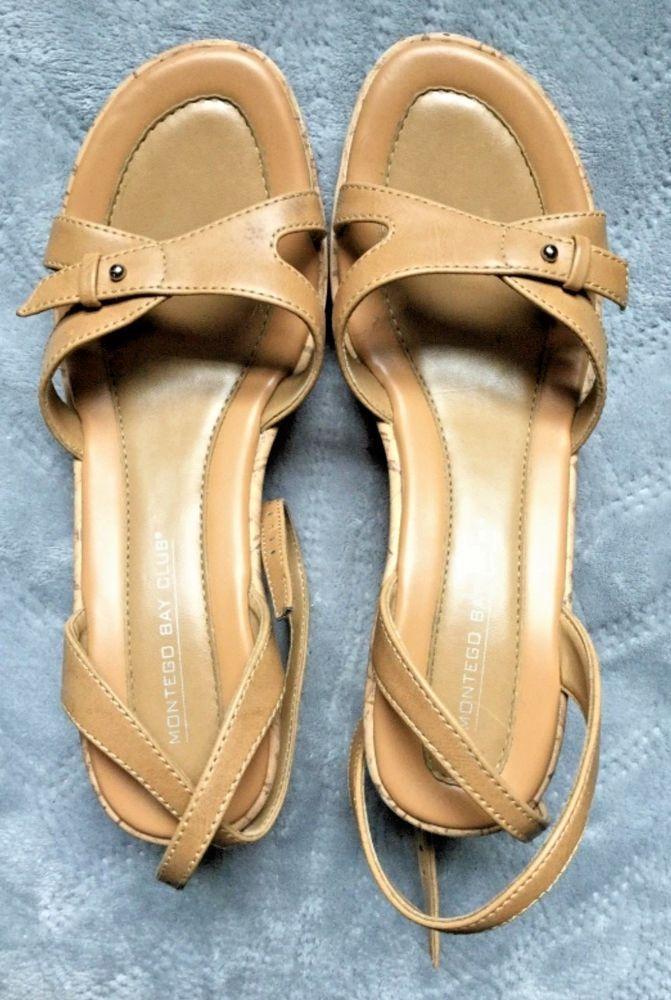764bb78f7 Montego Bay Club Women s Cork Wedge Sandals Stretch Beige Strap Size 6.5   MontegoBayClub  Slides  Casual
