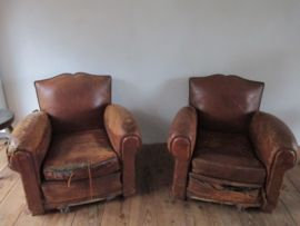 Nieuw Oude leren fauteuils | Fauteuil, Stoelen, Muur TU-17