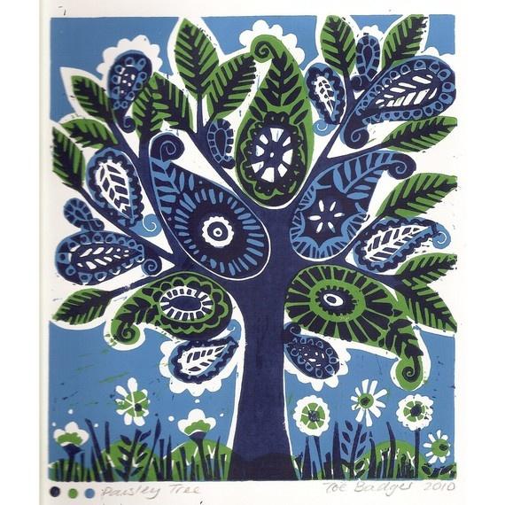Paisley Tree Linocut print 041 from zebedeeprint