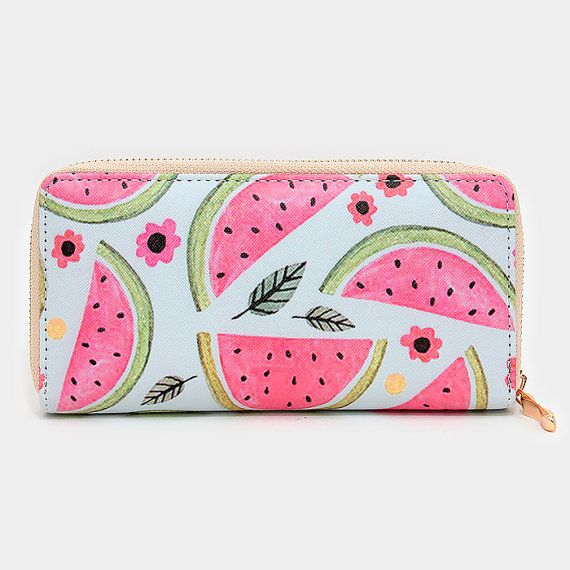 Watermelon Zip Wallet Summer Wallet Watermelon by NaesStorehouse