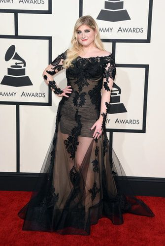 It was all about the black for the singer, who chose a minidress with a sheer lace overlay. Source: Getty / Jason Merritt