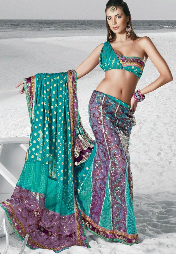 Teal Green and Lavender Violet Embroidered Lehenga Style Saree