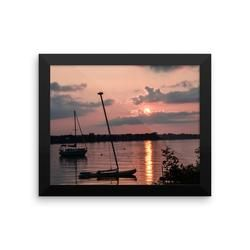 Framed photo paper poster: Northern Lake Sunset