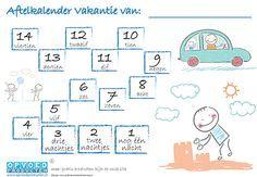 Gratis aftelkalender Vakantie voor kinderen. Laat kinderen zelf de dagen aftellen totdat jullie op vakantie gaan.   Klik op de afbeelding om naar de download te gaan. http://www.opvoedproducten.nl/product/aftelkalender-vakantie/268