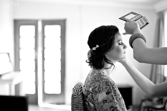 Inga and Nico's Rose Barn Wedding #makeup for a #bride using the #nakedpalette for a #softlook with some #sexy #romantic #shimmer.  Love this black & white captured by Niki M.  Makeup - Marike de Groot, Hair - Samuel Beck, Venue - The Rosebarn, South Africa