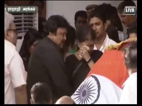 Actor Prabhu Tribute Jayalalithaa at Funeral