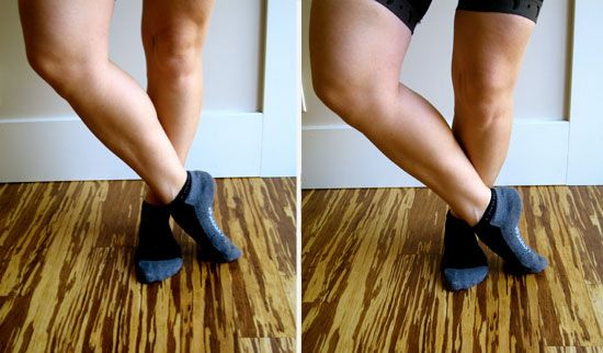 Shin & Ankle Stretch:   Cross your left ankle over your right with your toes pointed to the right.  Bend your right knee to increase the stretch for the top of the left foot.  Hold for 15 to 30 seconds then straighten the right knee; repeat before switching sides.