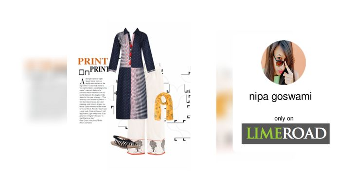 'Print on print' by me on Limeroad featuring Multi Color Kurtas, Multi Color Dupattas with Back Strap Black Sandals