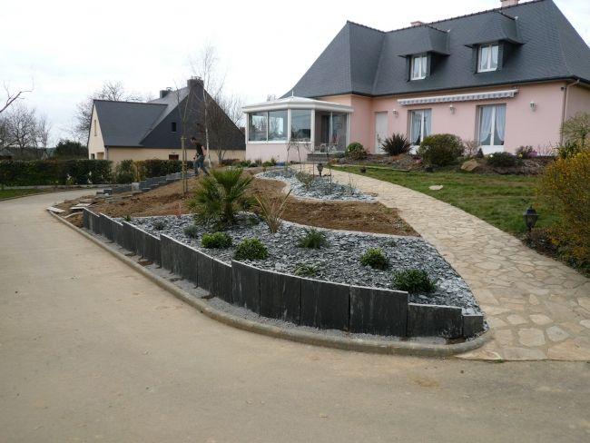 Retenue terre paysagiste rennes pour jardin 35 ext rieur am nagement paysager et - Jardin contemporain pente marseille ...