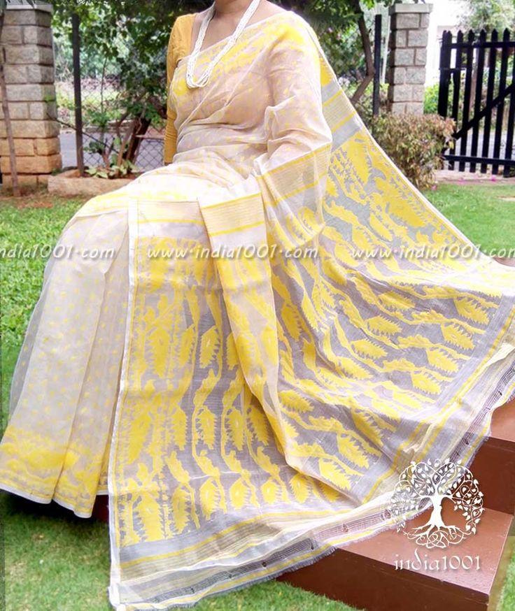Beautiful Muslin Dhakai Jamdani Saree