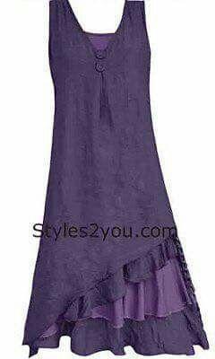 Fun layered ruffle detail at the bottom Pretty shade of purple