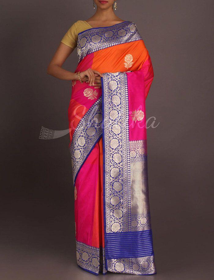Rekha Play Of Colors Bold Silver Motifs Real Zari Pure #KatanSilkSaree