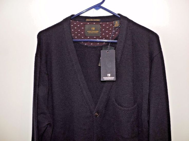 Scotch & Soda Mens Solid Navy Blue Lambs Wool Sweater SZ 2XL NWT Fast Shipping #ScotchSoda #Cardigan