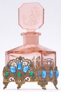 Perfume Bottle; Czechoslovakian Glass, Pink, Filigree Trim, Stopper with Cupid & Psyche, signed Hoffman, 7 inch.