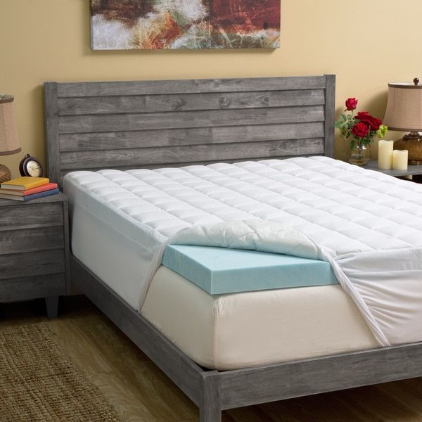 grande hotel collection 45inch gel memory foam and fiber mattress topper overstock