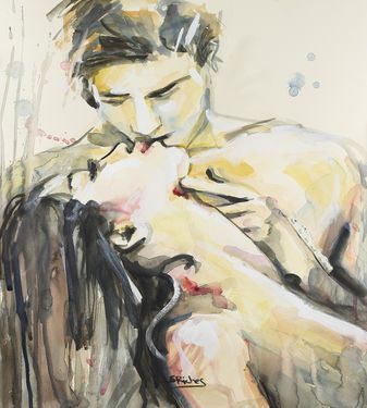 """Saatchi Art Artist Sara Riches; Painting, """"Two Lovers Met In May"""" #art #kiss #love"""