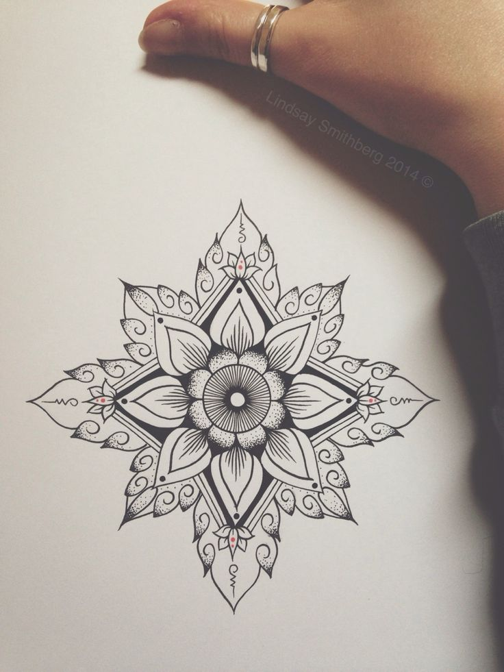 geometric flower art tattoo