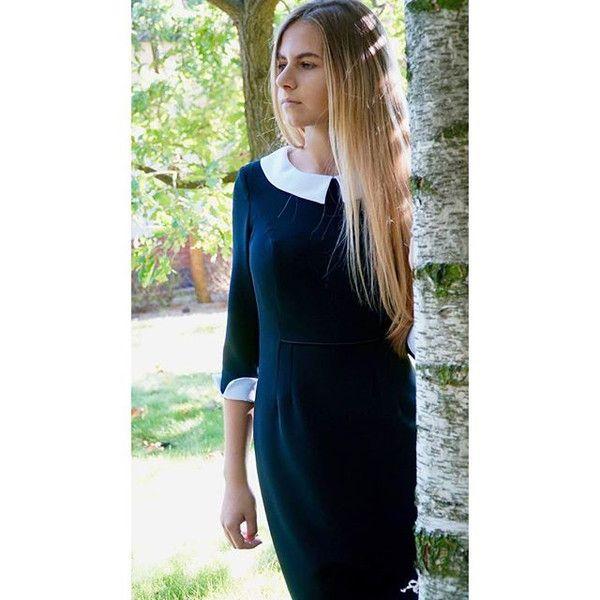 Sukienka Julia - czarna z kołnierzykiem i mankiet - Kristof-5 - Sukienki z dzianiny