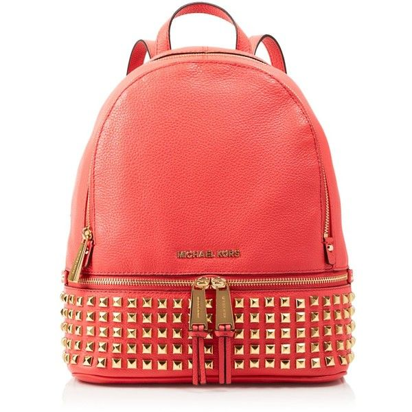 Michael Michael Kors Small Rhea Zip Studded Backpack ($358) ❤ liked on Polyvore featuring bags, backpacks, watermelon, backpacks bags, zipper backpack, leather studded backpack, zipper bag und top handle bag