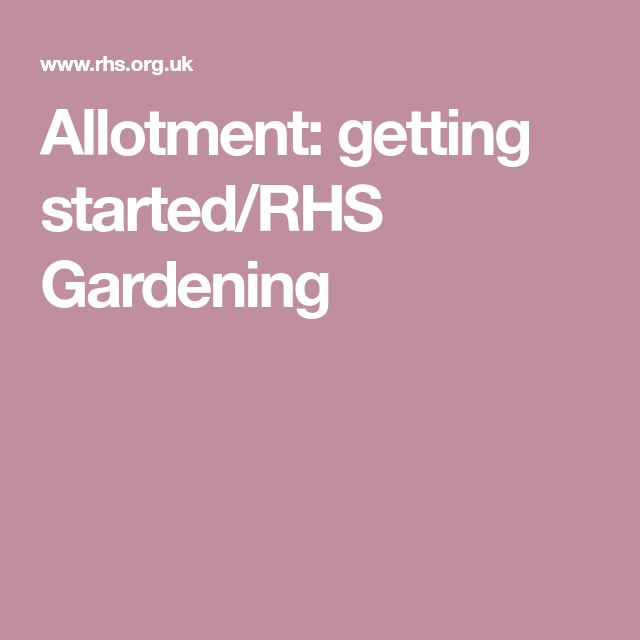 Allotment: getting started/RHS Gardening