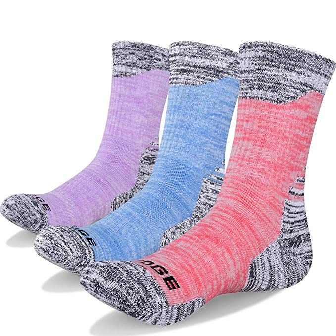 YUEDGE 3 Pairs Womens Cotton Cushion Crew Outdoor Sports Athletic Hiking Sock