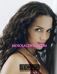Mix color #1b/30 Celebrity hairstyle Halle Berry wavy hair 20'' Full lace wig with middle stretch - www.mosolacewigs.com  Mix color #1b/30 Celebrity hairstyle Halle Berry wavy hair 20'' Full lace wig with middle stretch