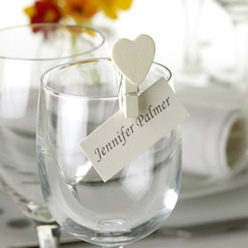 wedding place cards peg glass - Google Search