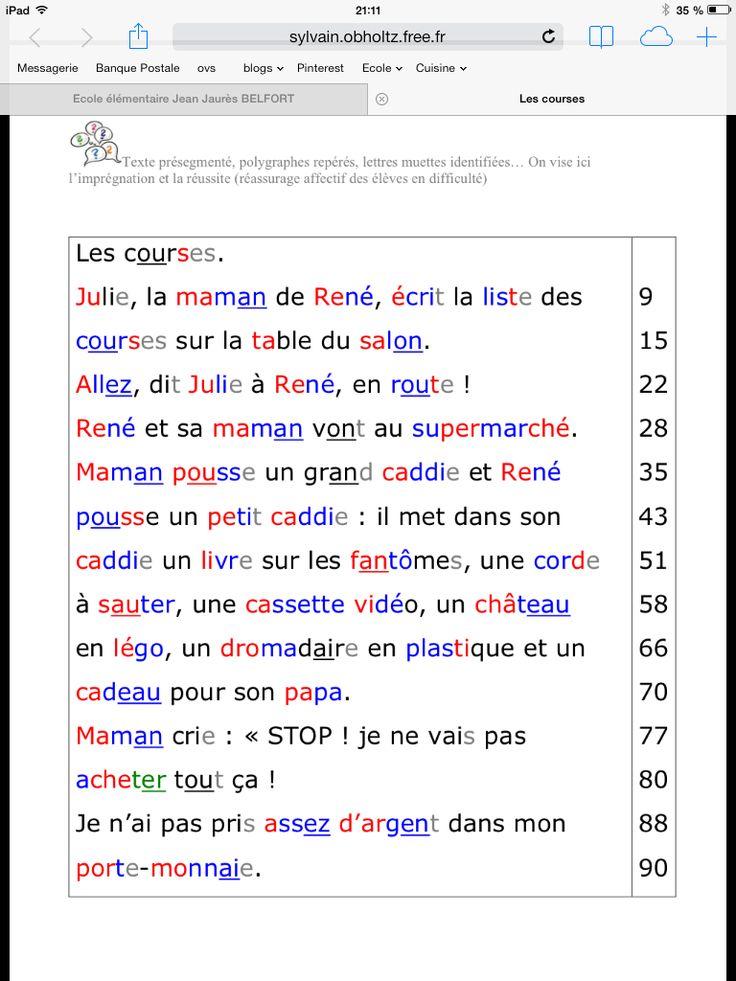 Textes pour travailler la fluidité et rapidité de lecture, sur le site Instit 90